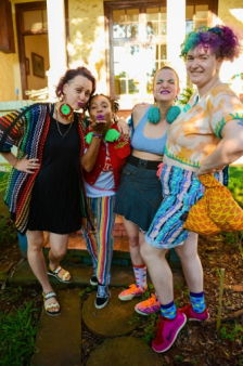 """From left to right: Cath (""""red rim"""" eye-rings, Kava (""""electric feel"""" pom-pom), Ingrid (""""aqua"""" pom-pom), and Cyd Eva (photographer and founder of PatternNation)."""